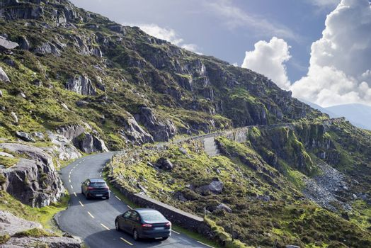 mountains and cliffs at the conor pass on the ring of kerry's wild atlantic way