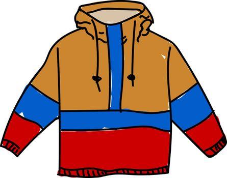Anorak jacket, illustration, vector on white background.