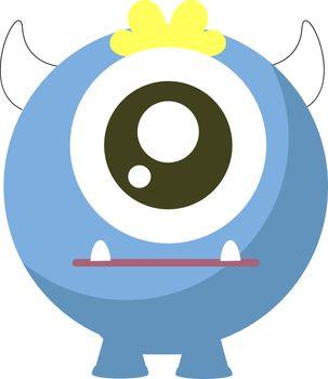 One eyed monster, illustration, vector on white background.