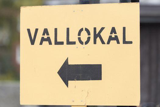Swedish Polling Station Sign Close Up.