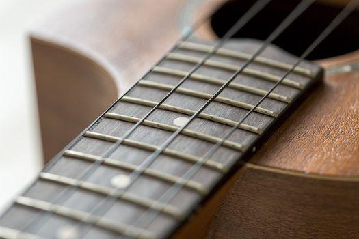 Ukulele Fretboard Close Up.