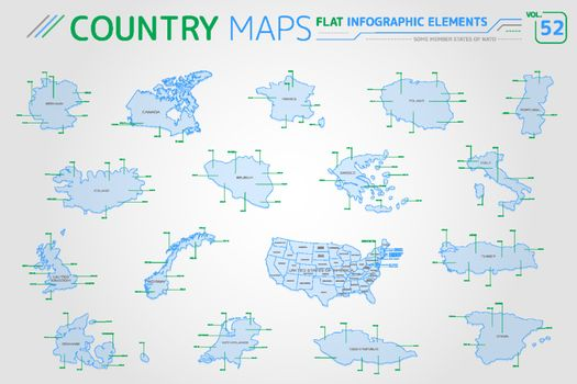 Some Member States of NATO, United States of America Canada, France, Italy, Germany, Norway and others Vector Maps