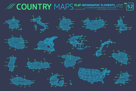 Some Member States of NATO, United States of America Canada, France, Germany, Italy, Norway and others Vector Maps