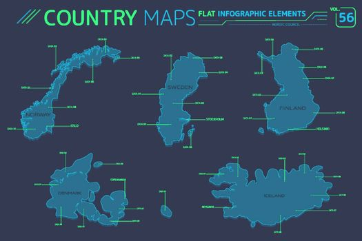 Nordic Council, Denmark, Finland, Iceland, Norway and Sweden Vector Maps