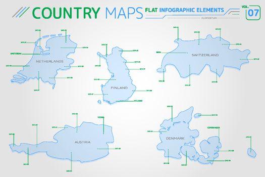 Netherlands, Switzerland, Finland, Austria and Denmark Vector Maps