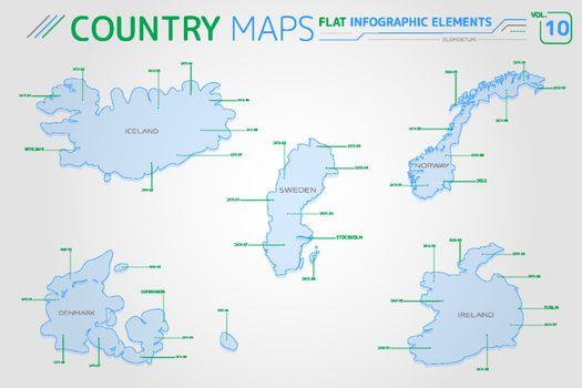 Iceland, Sweden, Norway, Denmark and Ireland Vector Maps