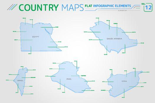 Egypt, Syria, Israel, Iraq and Saudi Arabia Vector Maps