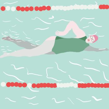 Horizontal illustration with swimmer in swimming pool. Sport character.