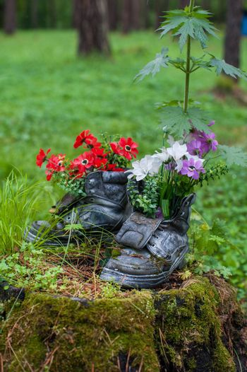 Touristic boot with flowers in the forest. Summer background with forgotten boots and wild flowers. Concept of summer season and traveling.