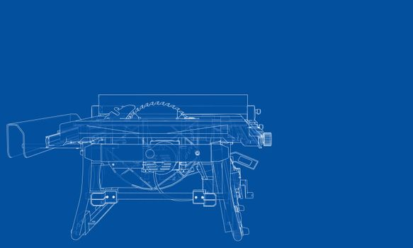 Outline table saw for woodwork vector
