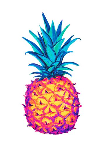 Pineapple icon. Tropical exotic fruit shape pattern. Pineapple hand drawn watercolor multicolored vector graphics