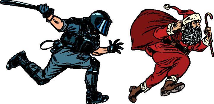 Santa Claus Christmas. riot police with a baton. discrimination against Christians