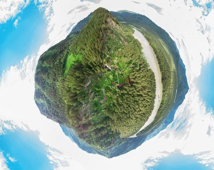 Planet spherical panorama 360 of summer Altai Mountains