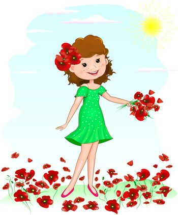 Happy young girl gathers flowers red poppies. A girl in a green dress is standing on a glade with red poppies. Joyful young girl with a bouquet of red poppies.