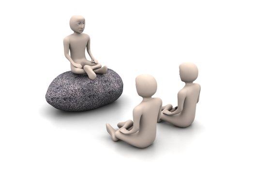 3d people in meditation