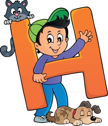 Boy and pets with letter H - eps10 vector illustration.