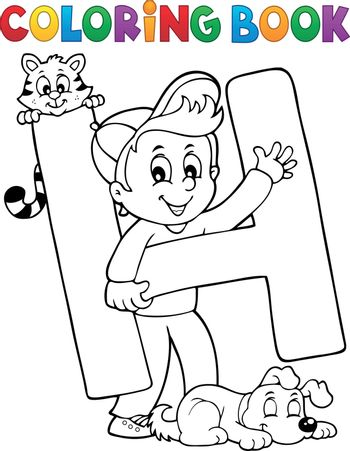 Coloring book boy and pets by letter H - eps10 vector illustration.