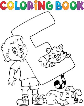 Coloring book boy and pets by letter E - eps10 vector illustration.