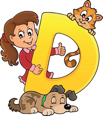 Girl and pets with letter D - eps10 vector illustration.