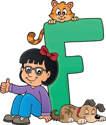 Girl and pets with letter F - eps10 vector illustration.