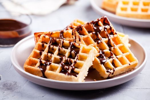 Stack Of Waffles With Chocolate
