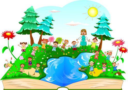 Joyful children for a walk in nature. Children on a walk outside the city. Joyful little kids and a teacher. Forest, lake, flowers, grass. Nature, landscape. Sky, sun, clouds. Opened book.