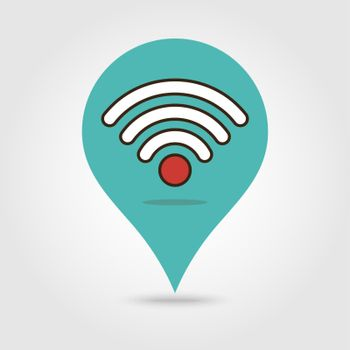Map marker with Wifi signal icon, map pin, GPS location symbol, wifi pin location. wifi zone connection. vector illustration