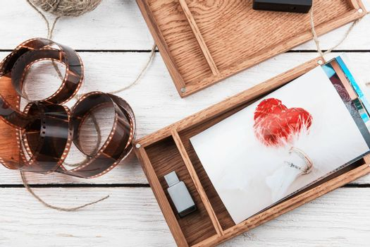 Wooden photo box with wedding photo for Wedding Day. Romantic love, and wedding day concept.