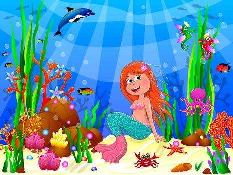 The little mermaid underwater among sea creatures and underwater plants.