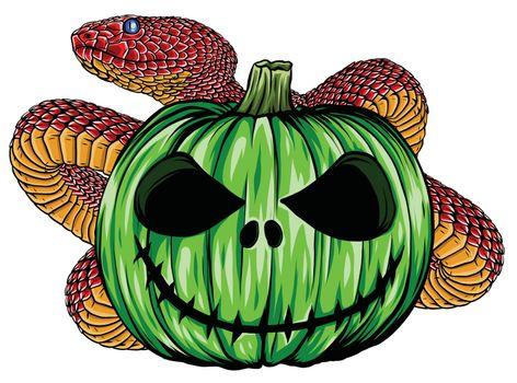 Viper snake. serpent with Halloween pumpkin illustration