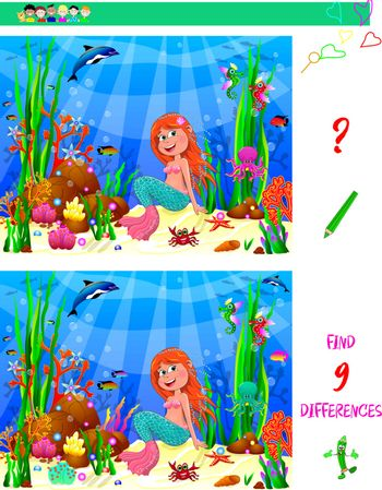 Little Mermaid underwater among sea creatures and underwater plants. The challenge for children is to find nine differences.