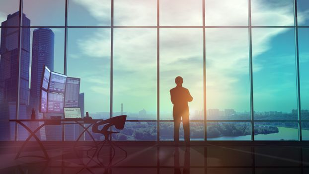 Silhouette of a trader in the office