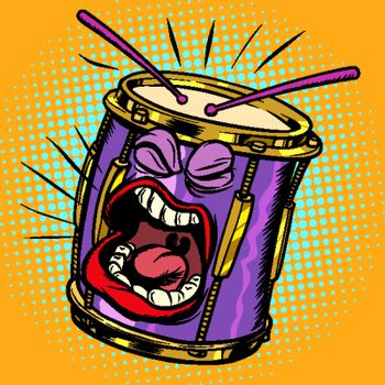 Emoji character emotion drum musical instrument