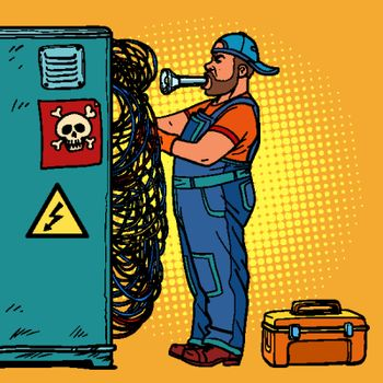 electrician technician repairs wires
