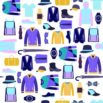 Vector set of man clothes fashion accessories seamlees pattern.