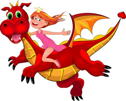 Little joyful girl sits astride a red dragon. Girl and flying dragon.