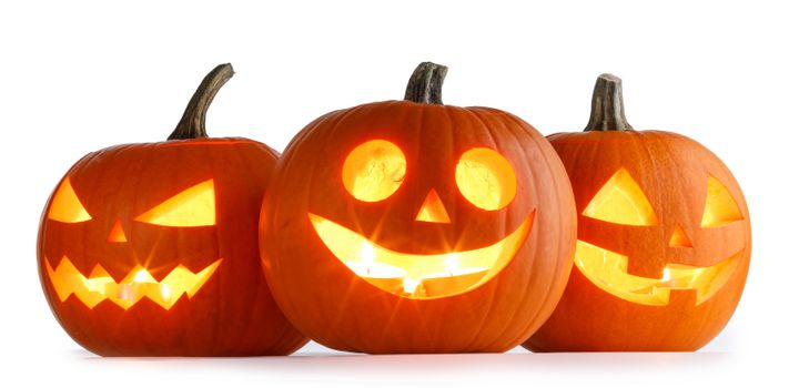 Three Halloween lantern Pumpkins isolated on white background