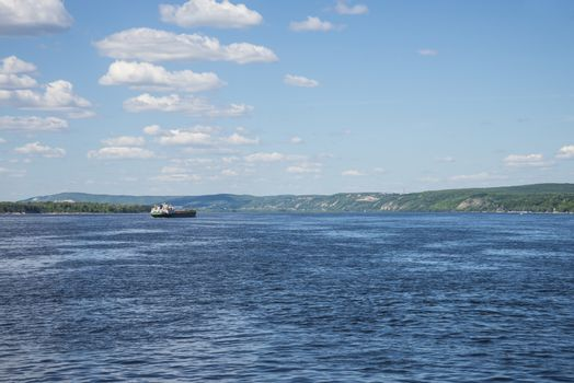 Volga river near Samara, Russia. Panoramic view.