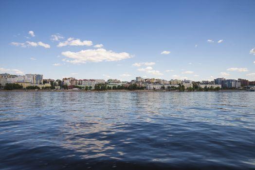 Volga river embankment in Samara, Russia. Panoramic view of the city.
