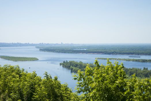 Panoramic view of the river Volga from a helicopter platform the city of Samara Russia.