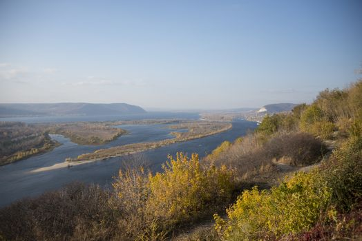 Panoramic view of Zhiguli mountains and Volga river near Samara