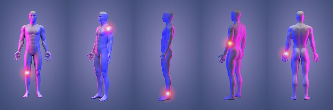 3d rendering illustration of pain human collection
