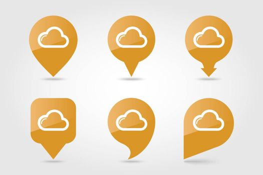 Cloud outline pin map icon. Map pointer. Map markers. Meteorology. Weather. Vector illustration eps 10