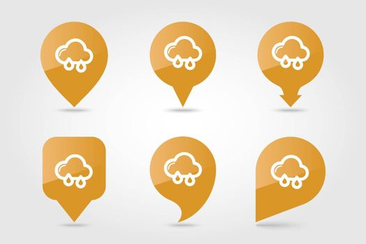 Rain Cloud outline pin map icon. Map pointer. Map markers. Meteorology. Weather. Vector illustration eps 10