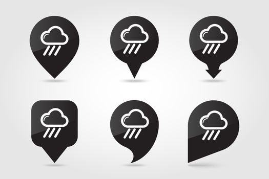 Rain Cloud outline pin map icon. Map pointer. Map markers. Downpour, rainfall. Weather. Vector illustration eps 10