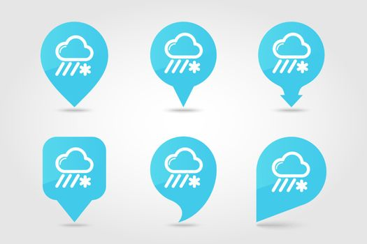 Cloud with Snow and Rain outline pin map icon. Map pointer. Map markers. Meteorology. Weather. Vector illustration eps 10