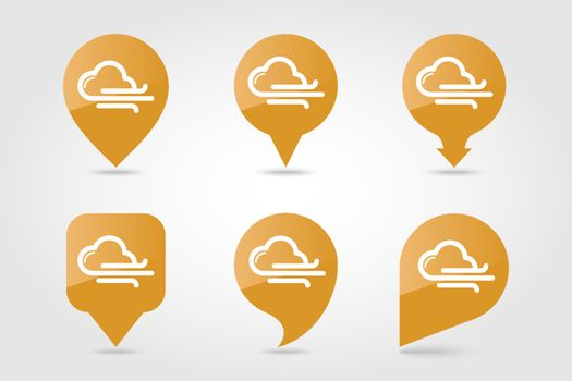 Cloud blows Wind outline pin map icon. Map pointer. Map markers. Meteorology. Weather. Vector illustration eps 10