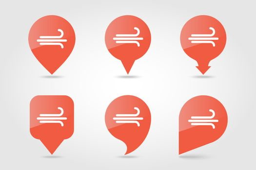 Wind outline pin map icon. Map pointer. Map markers. Meteorology. Weather. Vector illustration eps 10