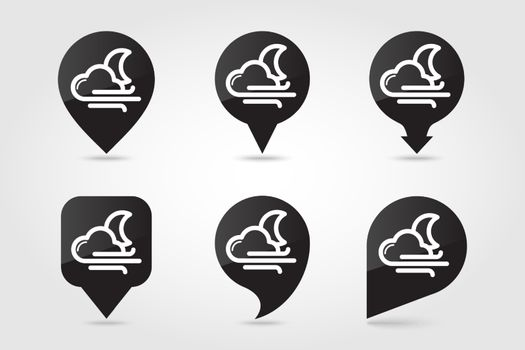 Moon Cloud blows Wind outline pin map icon. Map pointer. Map markers. Sleep night dreams symbol. Meteorology. Weather. Vector illustration eps 10