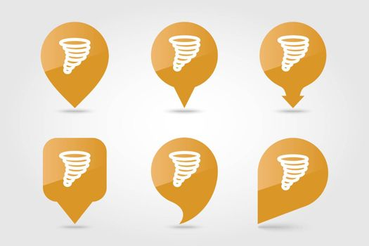 Tornado Whirlwind outline pin map icon. Map pointer. Map markers. Meteorology. Weather. Vector illustration eps 10